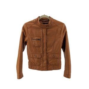 H&M Light Brown Faux Leather Moto Jacket